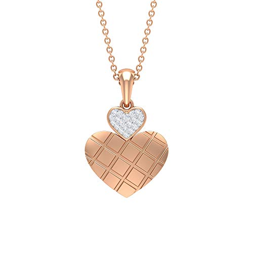 Collar de diamante de corazón doble, colgante de oro mínimo, colgante de amor