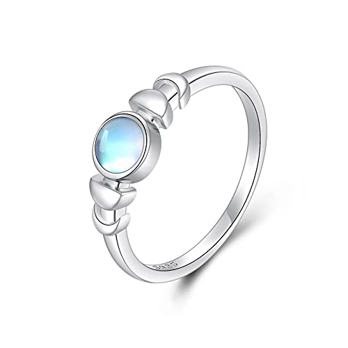 925 Sterling Silver Moon Phase Ring Moonstone Ring 8