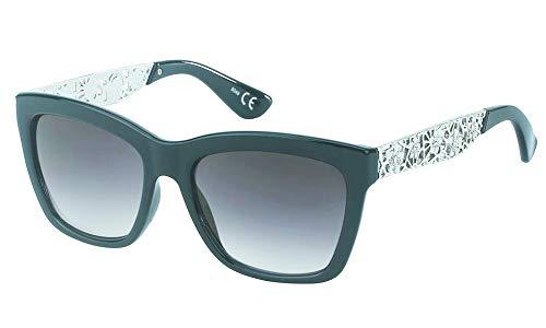 Chic-Net Occhiali da sole donne glamour tinteggiato 400UV ornamenti strass fiore cinturino nero