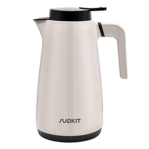 Glass Lined Thermal Carafe - SUPKIT 44oz Double Walled Vacuum Flask, 1.3 Liter Insulated Coffee Carafe, Plastic Coffee Thermos Keeping Hot 24 Hour Heat Retention, Tea Pot with Lid, BPA Free, Grey
