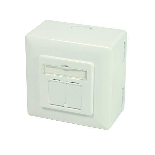 LogiLink Professional NP0126 CAT.6A Universal Anschlussdose (Unter-und Aufputz) 2X RJ45 STP (vollgeschirmt) mit 45° Auslass
