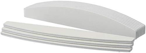 99nails 10 Stück Premium Nagelfeile Trapez Halbmondfeile Weiß Nagelstudio Feile 100/180 Körnung Profifeile Premium Feile