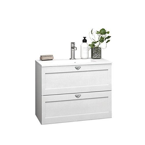 Dansani Luna umywalka Allegro z szufladami w ramie biały matowy 60-100 cm (60 cm)