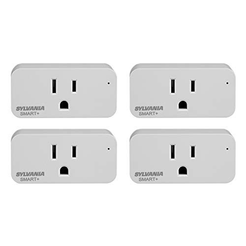 SYLVANIA SMART+ WiFi Plug, On/Off, White, Compatible with Alexa and Google Assistant, 4 Pack