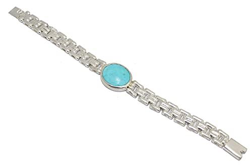 Rajasthan Gems Pulsera de los hombres de plata de ley 925 Heavy Chain Turquoise Gem Stone D