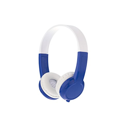 BuddyPhones Explore+, Volume-Limiting Kids Headphones, Foldable and Durable, Built-in Audio Sharing Cable with in-Line Mic, Best for Kindle, iPad, iPhone and Android Devices, CoolBlue