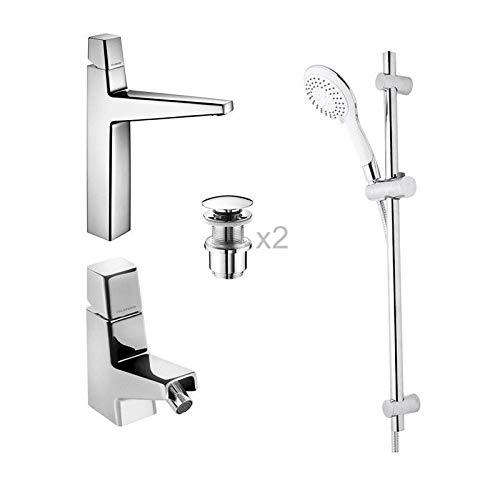 PIANETAFFARI Set Click lavabo e Bidet Palazzani pilette Click clack Incluse con Saliscendi 5 funzioni Atena