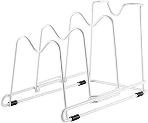 Estante de Almacenamiento de Tapas de Ollas Pot Pan Rack Organizer Metal Alambre Pot Rack Tapa 4 Ranuras de almacenamiento para colocación vertical u horizontal de sartén para senderos PAN PAPAS, Pied