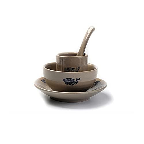 Vajillas combinadas Chino antiguo nostálgico gres de arcilla cerámica buffet vajilla conjunto de cuatro piezas conjunto de tazones, platos y tazas Juego de cuenco y plato