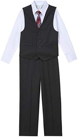 Van Heusen Boys Toddler 4 Piece Formal Suit Vest Set Pindot Black 5 T product image