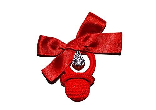Chupete rojo crochet virgen