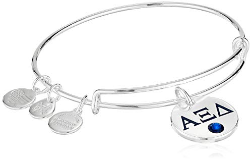 Alex and Ani Women's Color Infusion Alpha Xi Delta II EWB Bracelet, Shiny Silver, Expandable