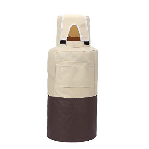 QEES Housse de réservoir de Propane étanche pour Bouteille de Propane en Acier de 20 kg, Tissu Oxford résistant 12.5 x 12.5 x 24 inch Brown+Beige
