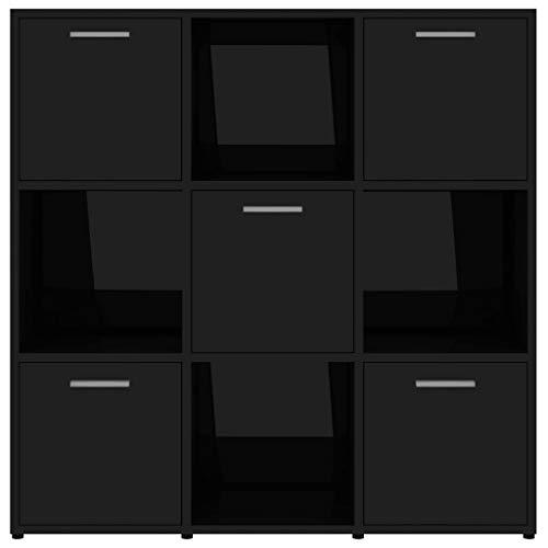 Lechnical Aparador de almacenamiento, armario independiente, estantería de almacenamiento, estantería de almacenamiento, 9 compartimentos, 90 x 30 x 90 cm, color negro brillante