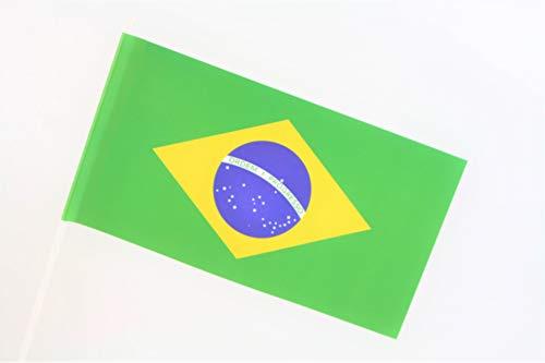 TrendLineMix 50 Stück Papierfähnchen Brasilien 12 x 24 cm mit Stab Papierfahne Staatenfahne