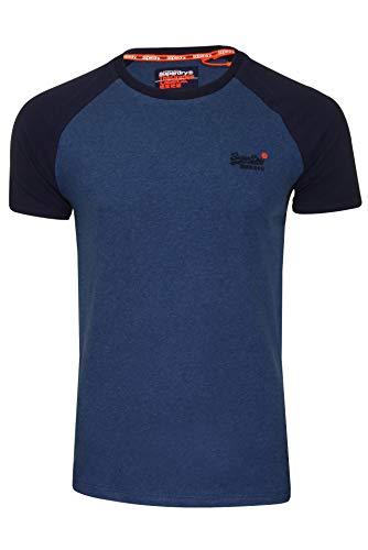 Superdry Herren T-Shirt 'Classic Baseball Tee' Rundhals Kurzarm (Rich Blue Marl) L