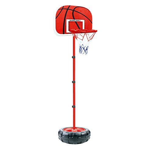 MAJOZ0 - Canasta de baloncesto para niños, 200 cm, altura regulable, con balón y soporte, W32VQA37MC3A1335FT, b