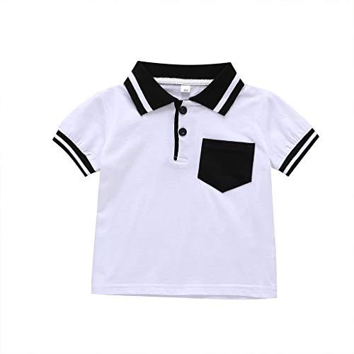Polo pour Petit garçon, Enfants garçons Messieurs Style Simple Noir Blanc Poche à Manches Courtes T-Shirt décontracté Hauts d'été