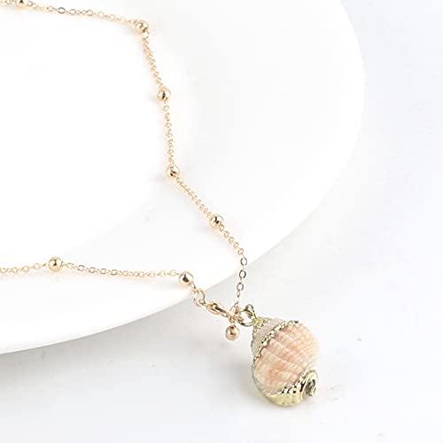 HALLTYG Collar Collar de Concha de Concha, Collar de Cadena de Concha de Oro, Collar de Gargantilla de Concha para Mujer, Colgantes, joyería Bohemia para Mujer
