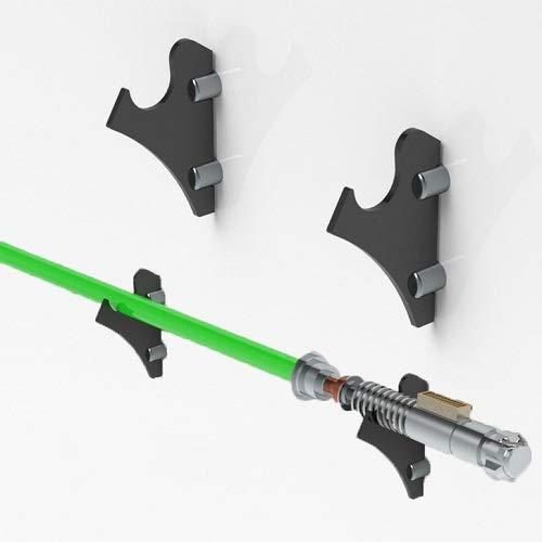 WANLIAN Soporte de sable de luz, soporte de sable de luz montado en la pared, adecuado para soporte de sable de luz FX, espadas, sable de luz y sable de luz de Star Wars 1 par (transparente)