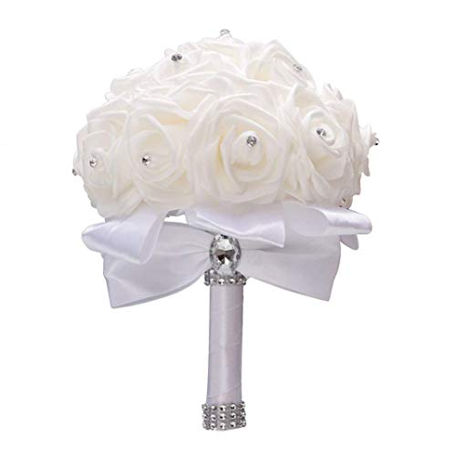 DMZK Bouquet da Sposa di Fiori,Romantico Artificial Rose Fiori da Sposa Decor,Bianco