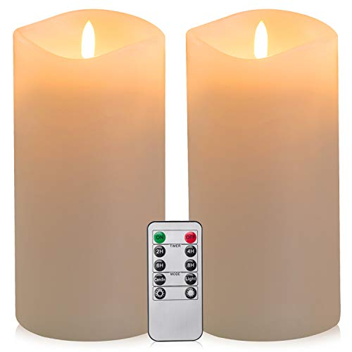 Hongking 4' x 8' Large Battery Operated LED Flameless Candles Set with Remote Control Timer (White)