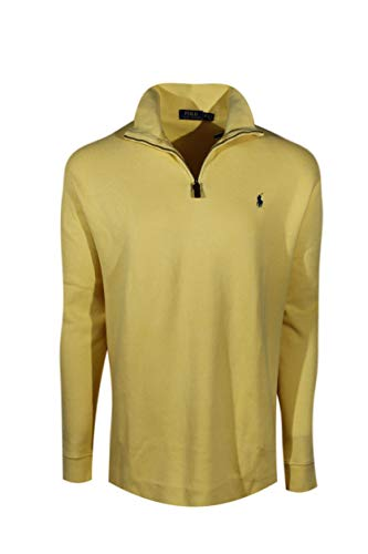 Polo Ralph Lauren Mens Half Zip French Rib Cotton Sweater (Small, Yellow)
