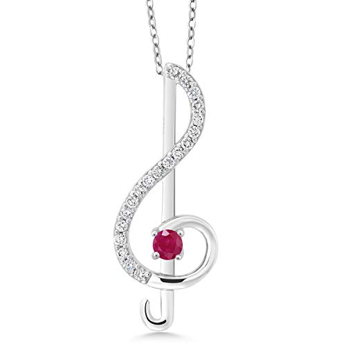 Keren Hanan Inspired by Music 925 Silver Treble Clef Pendant 3mm Red Ruby and Set with White Zirconia from Swarovski