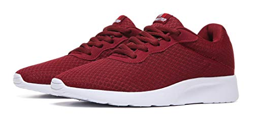 MAlITRIP Mens Running Shoes Lightweight Best Athletic Gifts for Sport Stability Gym Travel Tennis Road Cushion Run Sneakers for Men Size 9 Wine Red