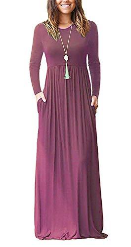 AUSELILY Damen Langarm Loose Plain Plus Size Maxikleider Lässige Langkleider mit Taschen(Mauve,3XL