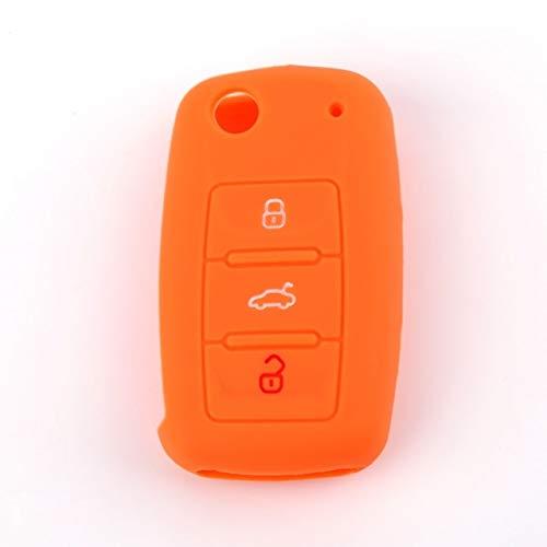 FDRE, Funda de Silicona para Llave de Coche, Carcasa Fob para VW Golf Bora Jetta Polo Golf Passat para Skoda Octavia A5 Fabia para Seat Ibiza Leon Naranja