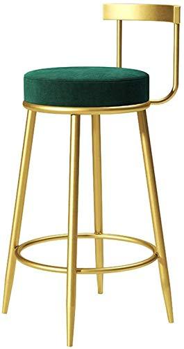 JYV Barstool Moderno Modern Industrial Sillas Altas Taburete Redondo Terciopelo Sillón Respaldo para Desayuno Cocina Contador Piernas de Oro (Color : 75cm, Size : Green)