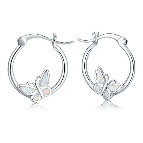 Pendientes de mariposa para niña, pendientes de aro de plata 925, hipoalergénicos, pendientes para niñas y niños,...