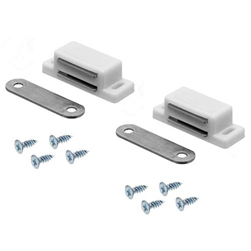FURNICA 2X White Magnetic Cabinet Door Catches/Latches + Fixing Screws