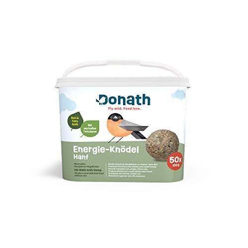 Donath Energie-Knödel Hanf, ohne Netz - 50 Meisenknödel ohne Netz im Vorteilseimer (50x 100g) - wertvolles Ganzjahres Wildvogelfutter - aus unserer Manufaktur in Süddeutschland