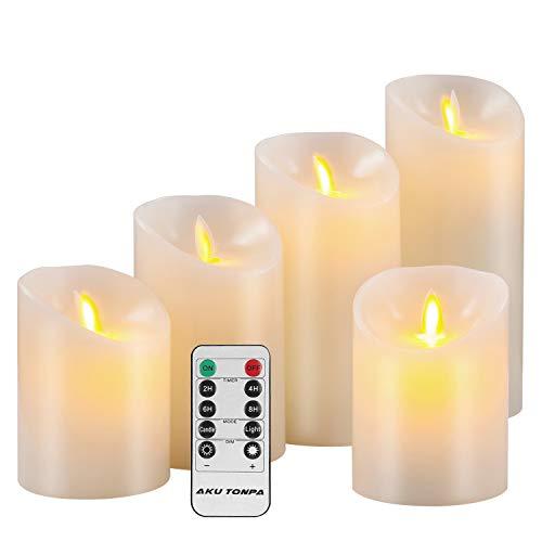 Aku Tonpa Flameless Candles Battery Operated Pillar Real Wax Flickering Moving Wick...