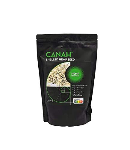Cœurs de graines de chanvre décortiquées par Canah 1000g - Riche en protéines, fibres, oméga 3, acides aminés et minéraux - Snack végétalien sain Source d'oméga 6