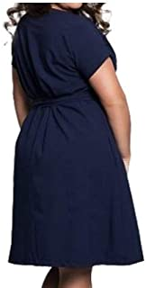 Casual women's plus size dress women's summer dress short sleeve dress (Color : Navy Blue, Size : 6XL)