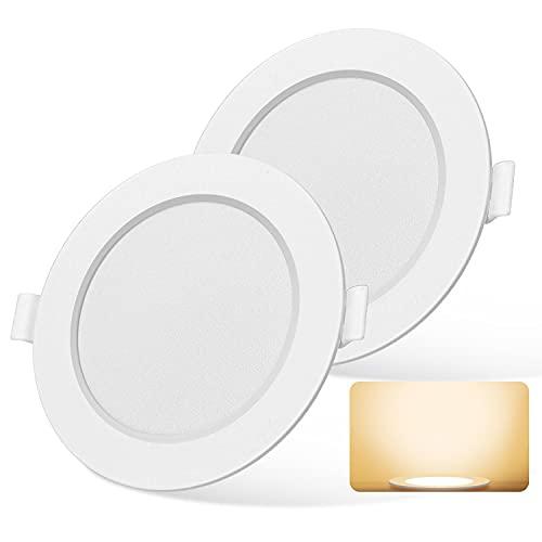 Aigostar - Slim Downlight LED Techo, 20W Equiv a 180W. 1650LM, 3000K, CRI> 80, 230V. Ojos de Buey LED para Techo. No Requiere Transformador. Pack 2 uds focos empotrables led [Clase energética A +]