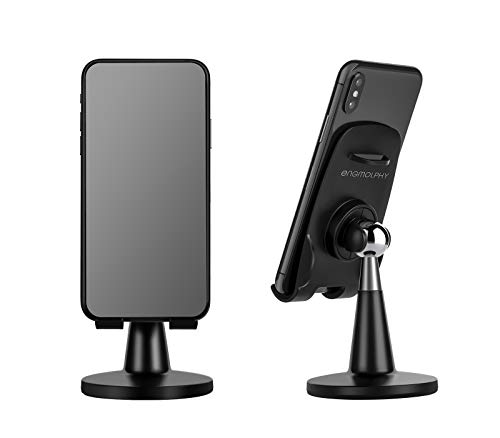 Cell Phone Stand Desk, enGMOLPHY Adjustable Desktop Phone Holder, Charging Freindly Phone Cradle Dock for Office and Home, Compatible with iPhone 12 SE 11 Xs Xs Max Xr 8 7 6 and More (Black)