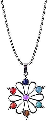 NC198 Collar Color Plata Siete Piedras Collares Colgantes Yoga Reiki Equilibrio 7 Collar Mujer Regalo Longitud de la Cadena Aproximadamente 45 + 5 cm Collar