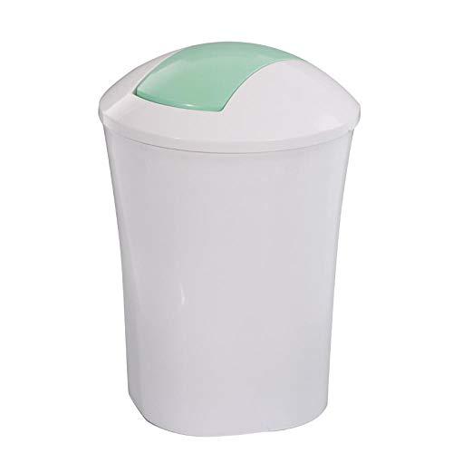 NANA318 afvalemmer 12L met schuifdeksel 35cm x 25cm groen - vuilnisemmer vuilnisbak afvalcontainer I kantoor keuken badkamer wit, groen