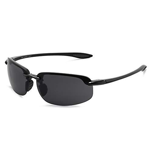 JULI anteojos de sol deportivas para hombres y mujeres Tr90 marco sin montura diseñador para correr, pesca, béisbol, conducción MJ8001, Negro / Gris
