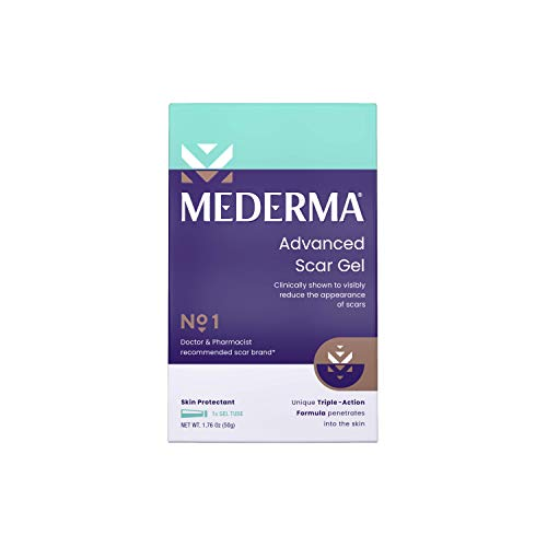 Mederma Advanced Scar Gel 1x Daily Reduces The Appearance Of Old New Scars #1 Doctor Pharmacist Recommended Brand for Scars 1.76oz, Clear, 50 grams