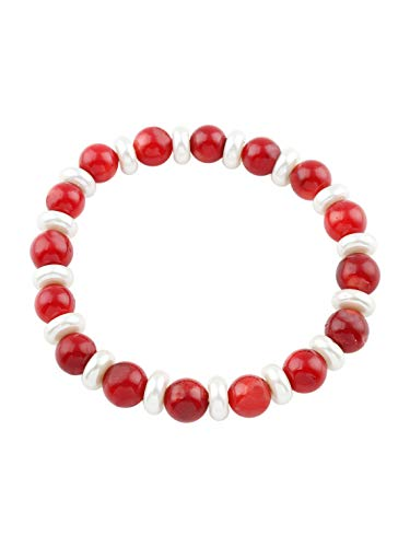 TreasureBay Natural Red Coral and White Freshwater Pearl Stretchy Bracelet for Women
