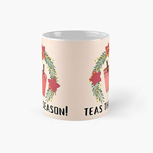 Christmas Bubble Tea Garland Cute Classic Mug for Kids, Fathers Day, Mothers Best Gift Family and Your Friends, Yourself, Funny Coffee Mugs 11 Oz