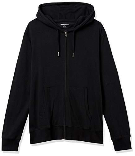 Amazon Essentials Men's Lightweight Jersey Full-Zip Hoodie, Black, X-Large