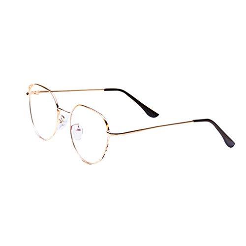 Junkai Männer Frauen Runde Brillen - Metall Rahmen Anti Blau Licht Clear Lens Gläser Rahmen für Computer/PC Spiel/TV/Handy Lesen Brillen - ka18082004