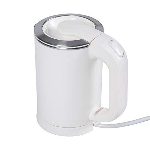 0.5 Liter Portable Electric Kettle,110V / 220V Dual Voltage, Little Travel Kettle, Small Size, Stainless Steel Water Kettle (White)