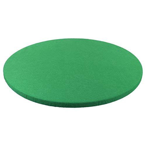 Jigitz Round Game Table Cover Fitted Table Cloth - 36in to 48in Elastic Fit Green Felt Poker Table...
